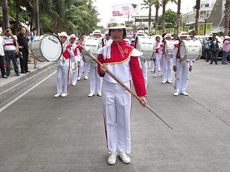 Pattaya School No. 3's Marching Band leads the parade from Soi 6.