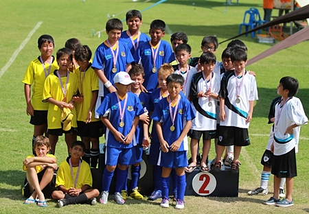 Year 6 boys win the Gold medal for football (top middle) Karan, (left) Azim, Aakhel, Oliver, Yury, and Simon (front right) and Sang Hyun.