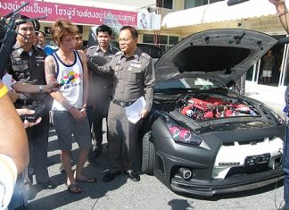Police have arrested Singaporean Tan Pei Nam for his connection with the theft of a Nissan GTR r35 stolen in Pattaya.
