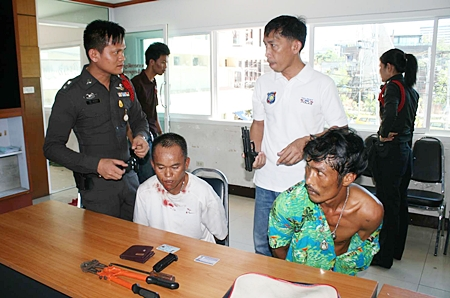 Suriya Chaiyakul and Yos Khuanamol are interrogated by police for pointing a BB gun at them whilst running a checkpoint.