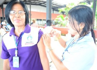 """You may feel a little pinch…"" A nurse vaccinates a woman against the flu during the preventative-health fair."
