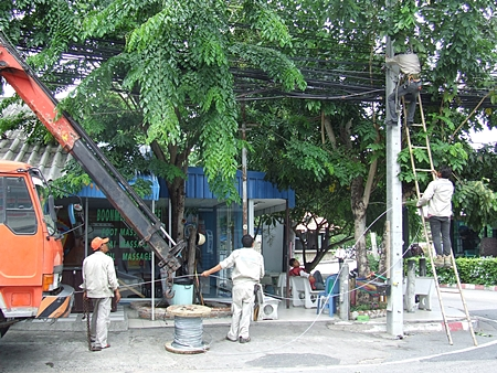 TOT workers trim trees and swap out old telephone lines in Naklua.