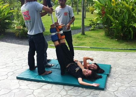 Team members prepare to ride the dreaded bungee jump.