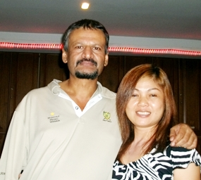 Two time winner Chaten Patel, left, with Noy.