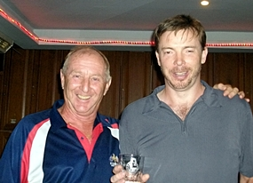 Sunday's medal winner Adam Oyston, right, with Colin Davis.