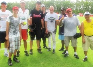 Winners of the softball tournament (left to right): George, Shawn, John S, Adam, Ben, Jerry, Rodney, Greg and Vince.
