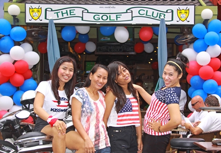 TGC gals Nat, Duen, Koy and Ying welcome all at the 4th of July bash.