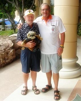 Monday Compass winner Brian (Doc) Vale, Deefa the Dog & winner Peter Blackburn.