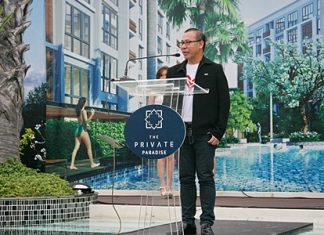Suthichai Rodurai, deputy MD of Ito Thai Asset Co. Ltd, launches the Private Paradise condominium groundbreaking event, Sunday, July 15.