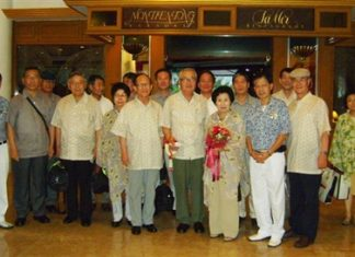 Former Minister of National Defence of the Republic of Korea Kwon Young Hae (4th right) and Madame Kim Hyo Soon (3rd right) led an official delegation from their country on a familiarization trip to Pattaya as guests of the Permanent Secretary of the Thai Ministry of Defence recently. They were welcomed to the Montien Hotel, Pattaya by Pakorn Srisook Executive Assistant Manager (2nd right) and Kamron Jamsrisai (left).