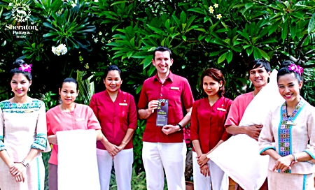 """Michael Delargy, General Manager of the Sheraton Pattaya Resort invites associates and guests to participate in the """"Make a Green Choice (MAGC)"""" program. MAGC is part of Starwood's sustainability program, in order to reduce water consumption, energy usage and help keep chemicals out of our environment. Michael said, """"By declining housekeeping services for just one night, together we can save almost 40 gallons of water, enough electricity to run a laptop for 10 hours, 25,000 BTUs of natural gas and 7 oz. of chemicals."""""""