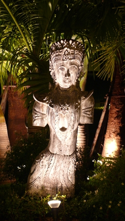An exotic statue welcomes guests to the Thai Garden Resort.