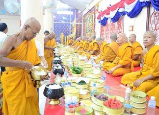 Revered monks prepare for the Khao Pansaa festivities at Wat Thamsamakhee.