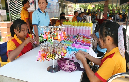 Booths were set up to sell products hand-made by the disabled people at the foundation.