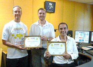 Russell and Mark, who will be emcees for both of our events again this year, are shown receiving their certificates of appreciation from Lewis Underwood for the great job they did last year.