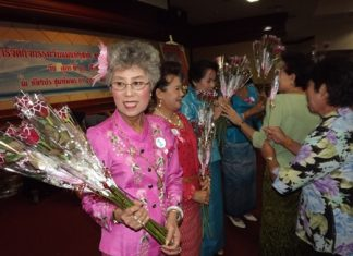 Beautiful women take part in the Pattaya Elderly Club's Mother's Day Beauty Contest.