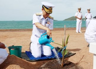 "Vice. Adm. Chainarong Charoenrak leads the Aug. 9 ceremony to plant 100 ""super palm"" trees at Dongtan Bay."