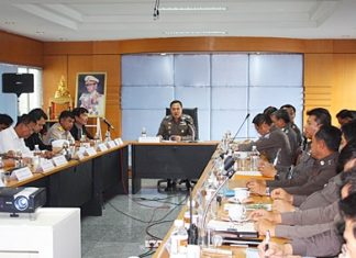 Gen. Somyos Pumpanmuang, a consultant for the Royal Thai Police, meets with top officials from the Region 2, Chonburi and Tourist police bureaus.
