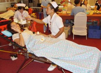 Supinda Jaturongkhakul does her part to help refill Somdej Na Sriracha Hospital's blood banks.