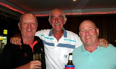Sunday winners Bob Newell and Ian Halfpenny flank Jimmy, the club captain.