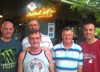 Friday winners (from the left): Andy Butterworth, Bob St Aubin (at the back), Dennis Pelly, Ian Hart and David Dunstan.