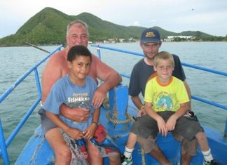Paul, Sean, Neil and Bradley enjoy their day out at sea.