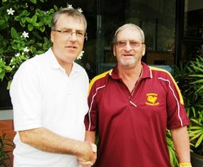 Double winner Geoff Williams, left, is congratulated by Peter Blackburn.