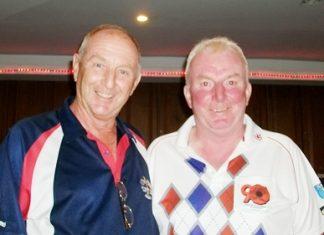 Colin Davis, left, with Sunday's winner Eddy Delaney.