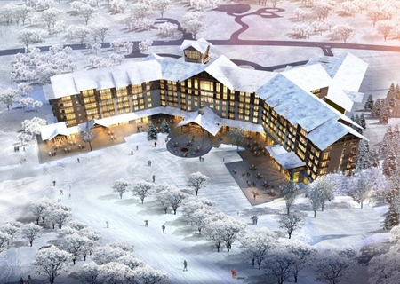 An artist's impression shows the 603-room Holiday Inn Resort Changbaishan and Holiday Inn Changbaishan Suites.