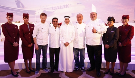 At a press conference in Doha, Qatar Airways Chief Executive Officer Akbar Al Baker hosted the airline's new culinary dream team of internationally-acclaimed chefs inspiring new-look menus and cuisine from around the world. (l-r) Chef Tom Aikens, Chef Vineet Bhatia, Qatar Airways CEO Akbar Al Baker, Chef Nobu Matsuhisa and Chef Ramzi Choueiri.
