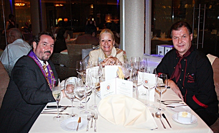 (L to R) Felix and Simose Riva chat with Fredi Schaub, chef and owner of Bruno's Restaurant & Wine Bar.