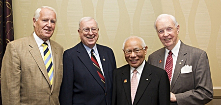 The PolioPlus seminar was given a sense of urgency with the participation of Past RI President Carl-Wilhelm Stenhammar, Past RI President Jim Lacy, current President Sakuji Tanaka and Past RI President Wilf Wilkinson.