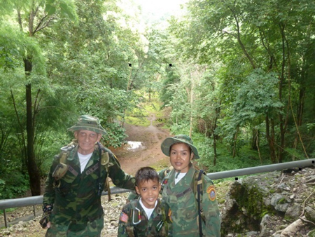 Young Marines Pattaya members look into Hin Tok Cutting. The Three-Tier Trestle Bridge would have been to their rear. Between the black squares indicates where the old train bed lays. Left to Right: Unit Commander Rad, PFC Bret & Leader Nok Mays.