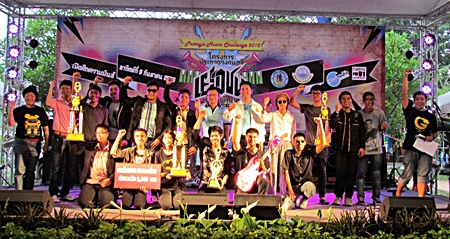 Winners and runners-up pose with officials at the Pattaya Music Challenge 2012.