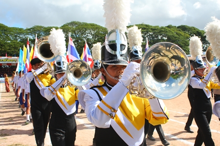 Pattaya School No. 11 marching band performs in the opening parade.