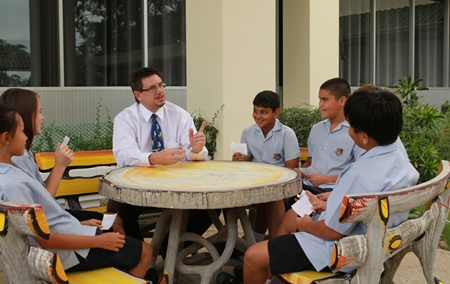 Yr 7 students get to meet Dr Tasker, new principal at GIS.