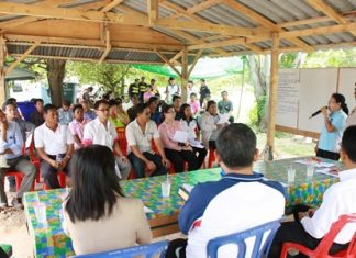 Plutaluang residents and officials meet to protest a Chinese-owned oil-reprocessing facility, citing unpleasant odors and suspicions that foreigners were polluting the Thai countryside.