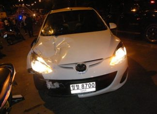 This Mazda, driven by Hamed Madan Nezhad, struck a motorcycle killing one woman and seriously injuring two passengers.