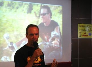 Lewis (Woody) Underwood, chairman of the Jesters Care for Kids Charity Drive, shares with PCEC members the origins of Jesters, from 'a bunch of Harley owners helping needy kids', growing now to be a, if not the, major player in charities in Chonburi and Rayong.