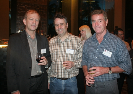 (L to R) Simon Landy (Executive Chairman C.I.T. Property Consultants Co., Ltd.), Mark Butters (Director RSM Thailand), and Peter Mewes (Senior Legal Advisor HBS Law), each with a different taste in liquids.