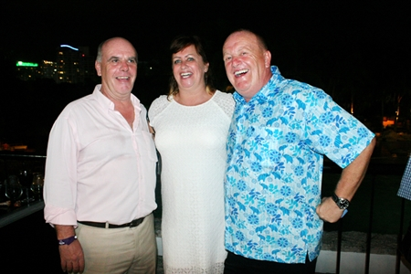 (L to R) Joe Grunwell, Kay Mckeown, and Captain Tim Hicks celebrate each other's company.