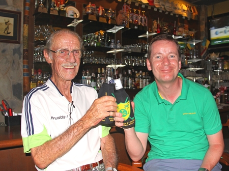 Friday's top two, Brian Prudden and Steven Holland share a beer.