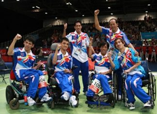 Thailand's victorious gold medal winning 4-man boccia team.