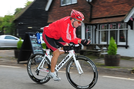 Matthew Springall competes in the 180km cycling leg of the Challenge Henley triathlon on Sunday 16 September, Oxfordshire, England.