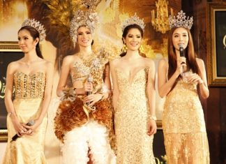 """Former winners of the """"Miss International Queen"""" contest address the media at a press conference held Oct. 10 at Central World in Bangkok."""