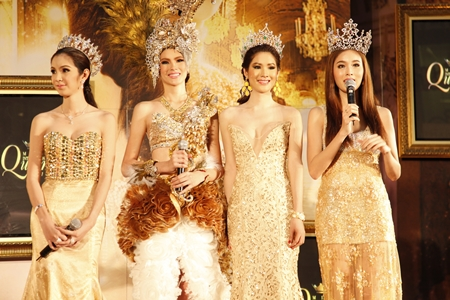 "Former winners of the ""Miss International Queen"" contest address the media at a press conference held Oct. 10 at Central World in Bangkok."