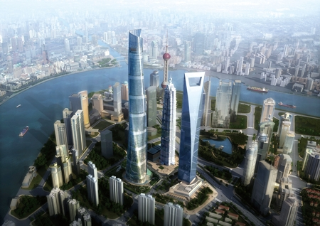 An artist's impression shows the completed Shanghai Tower in the busy Lujiazui financial district of the city.