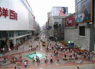 Chunxi Road shopping district in Chengdu, China.