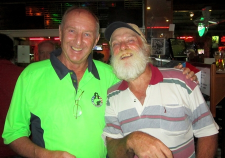 Welcome back to Rick Bevington, right, a.k.a. Santa Claus.