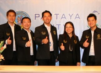 Pattaya City Mayor Itthiphol Kunplome (centre) introduces Yuwathida Jeerapat (2nd right) as the new Pattaya City spokesperson along with her 3 deputies, Banjong Banthunprayukt, Ittiwat Wattanasartsathorn and Damrongkiat Phinitkarn.